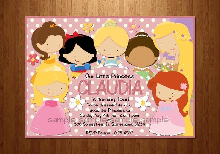 Disney Princesses Printable Birthday invitation  by Ohsostationery, $16.00