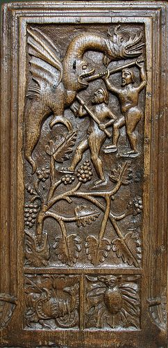 This is one of the Crowcombe, Somerset, bench-ends carved in 1534 -- [for the undoubted Parisian Horae source of the small square panel bottom left -- SEE BELOW]. Given that other motifs at Crowcombe derive from 'my' Parisian Horae metal-cuts, I believe this gastrocephalic dragon does too! [SEE ADJACENT]