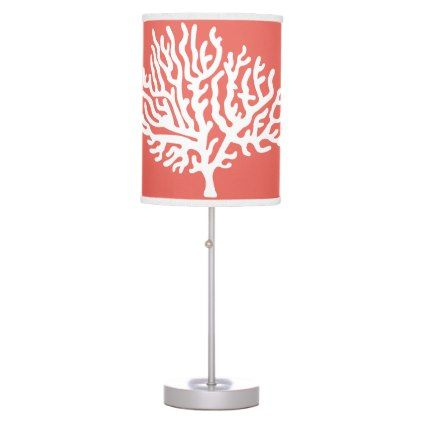 #Coastal White Sea Coral & Coral Pink Table Lamp - #elegant #gifts #stylish #giftideas #custom