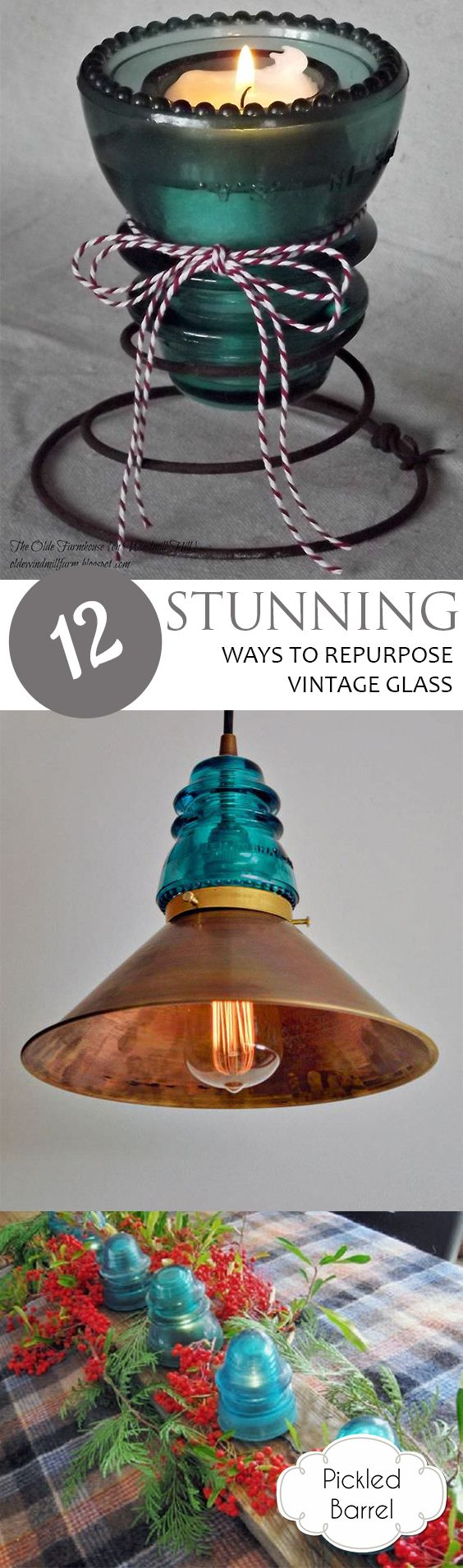 How to Repurpose Class, Lighting, DIY Lighting, Lighting Ideas, Home Lighting Ideas, DIY Lighting for The Home, Rustic Lighting For the Home, Things to Do With Vintage Glass, Popular Pin