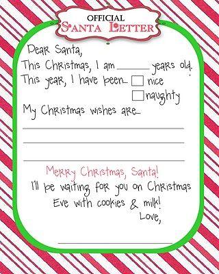 Free Printables: Santa Letters
