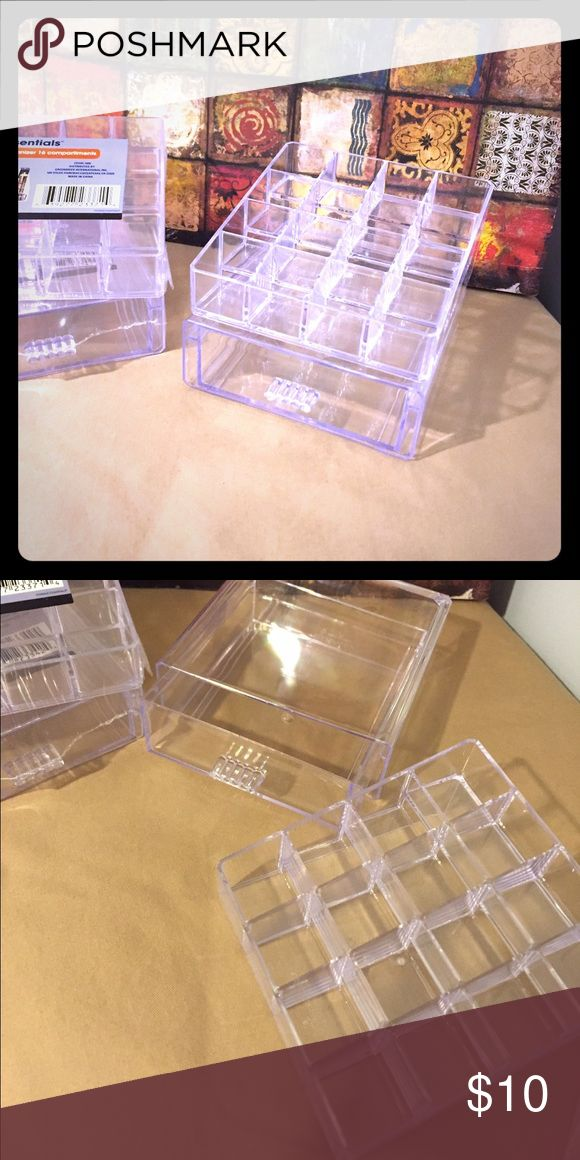 2 new acrylic vanity/makeup organizers! Listing is for 5in x 5in clear drawer and 5in x 5in 16 slot make up holders! Brand new never used! Acrylic vanity/make up organizers ready to organize and store make up, nail polish, hair supplies or anything! Make an offer or add to a bundle for a deal! Makeup