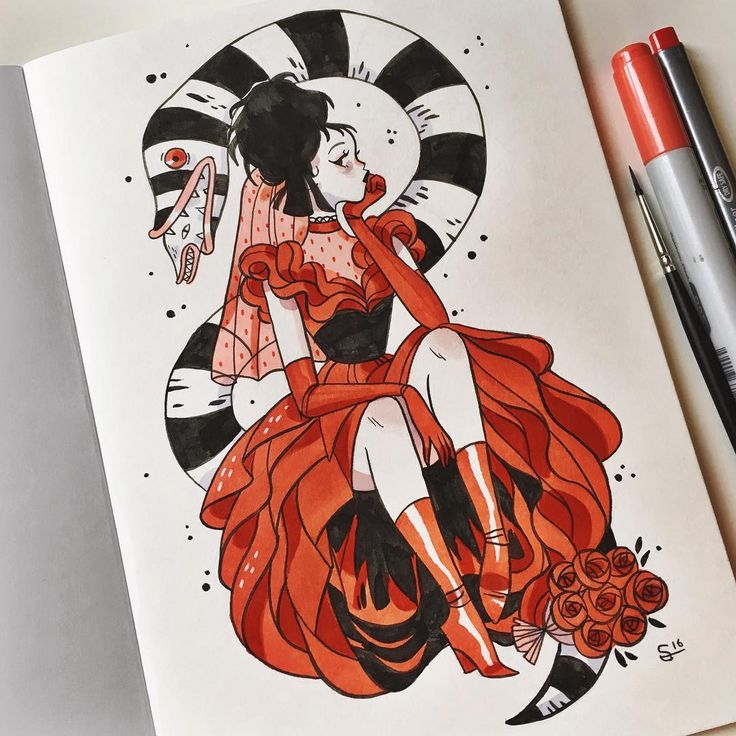"""23.5 mil curtidas, 180 comentários - @sibylline_m no Instagram: """"Starting #inktober with Lydia from Beetlejuice ❤️"""""""