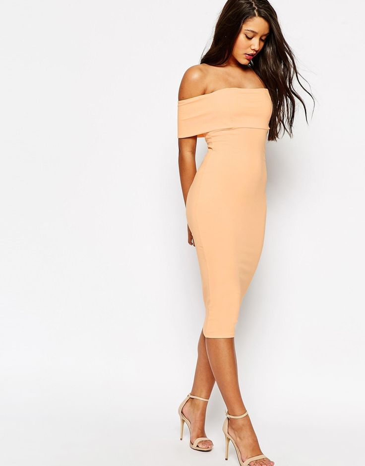 Image 1 of ASOS Deep Off The Shoulder Bardot Midi Body-Conscious Dress
