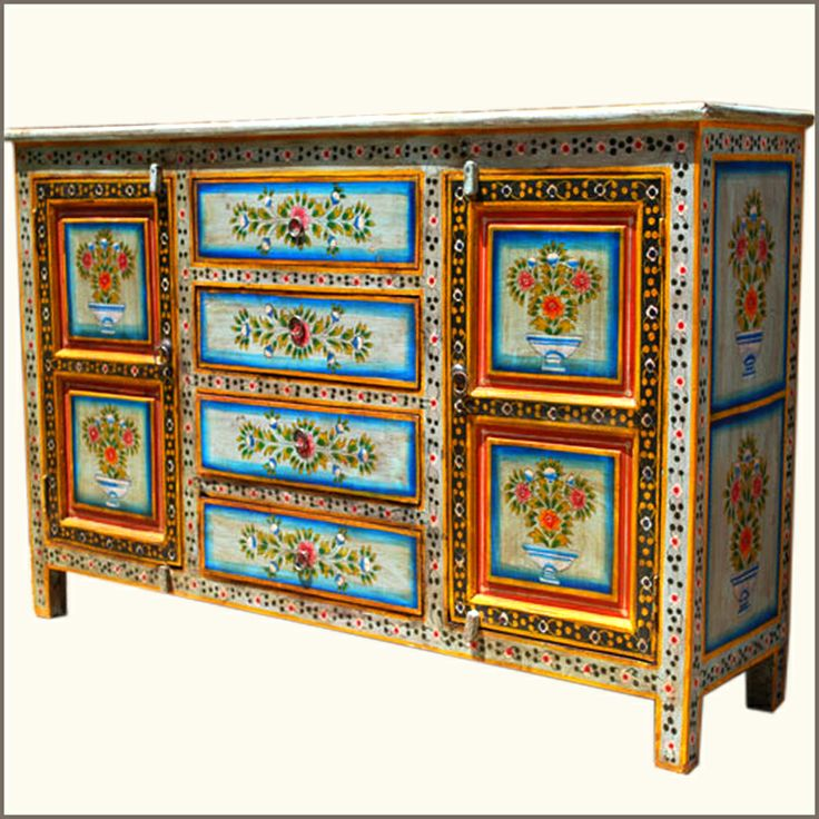 Bring Color And Handcrafted Beauty To Your Dining Room With The Red Dahlia Hand Painted Buffet Sideboard This Playful Credenza Is Made Of Solid Mango Wood