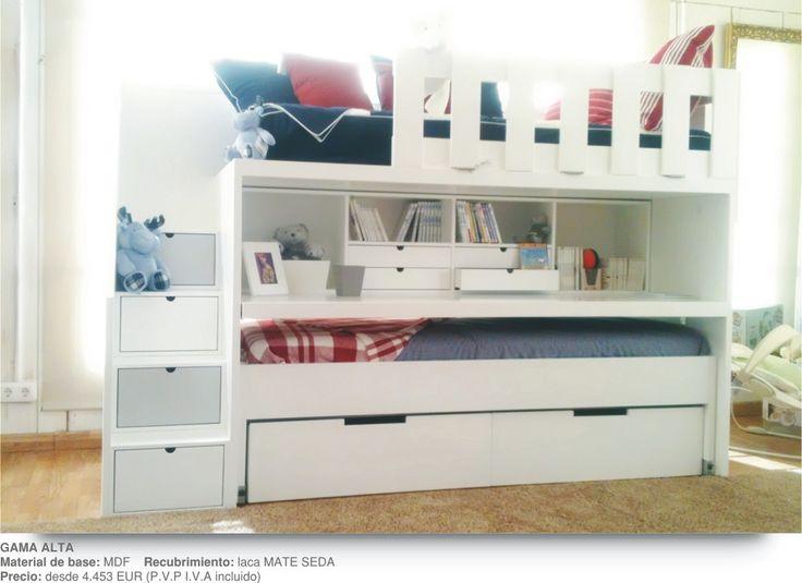 Literas infantiles con escalones escritorio cama movil for Literas juveniles con escritorio