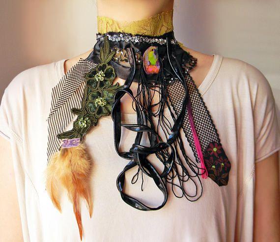 Oversize collage fabric jabot Extra long bib necklace High