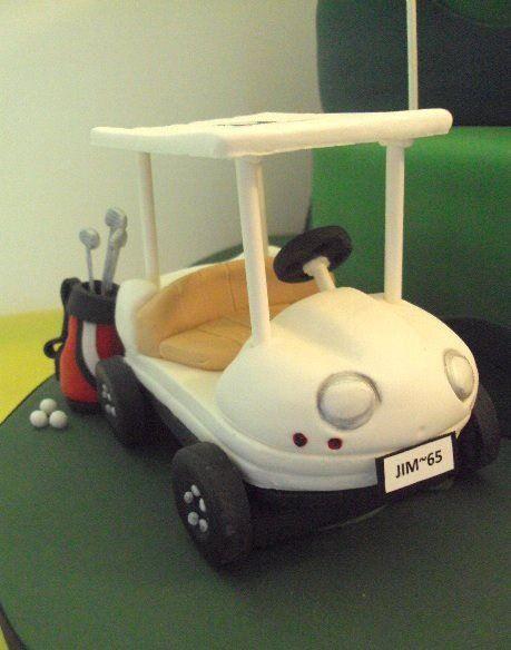 Fondant golf cart con muñeco golfista y bolsa con palos