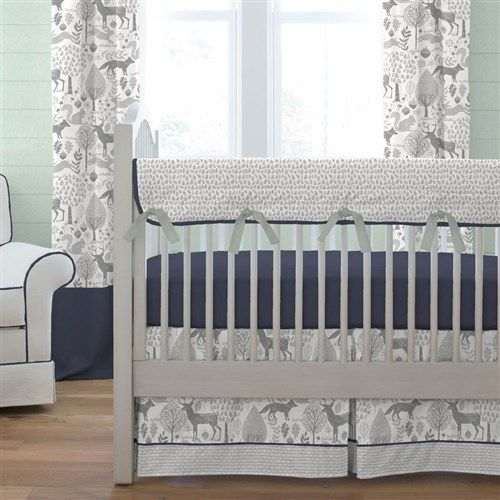 Navy and Gray Woodland Crib Bedding by Carousel Designs.