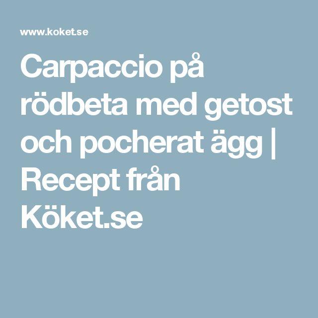 Carpaccio på rödbeta med getost och pocherat ägg   Recept från Köket.se