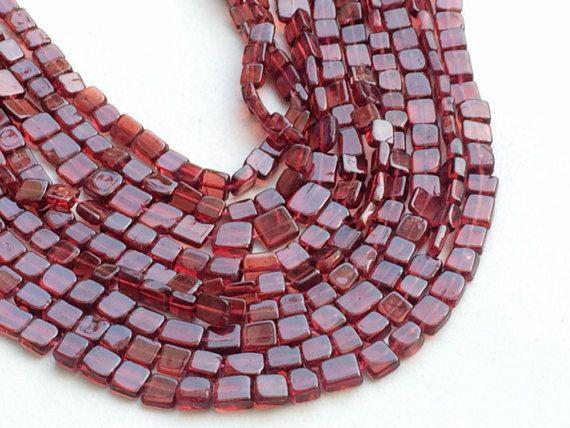 Garnet Beads Fancy Garnet Plain Flat Box Beads by gemsforjewels