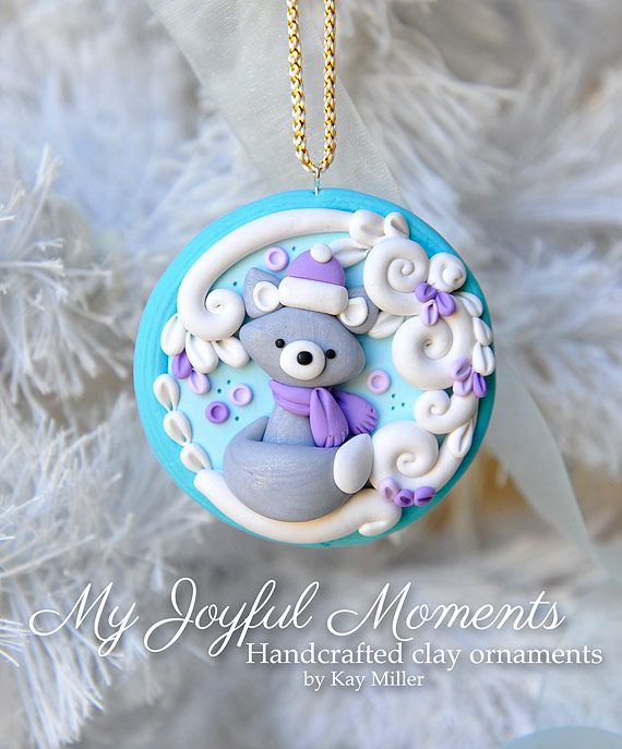 Handcrafted Polymer Clay Ornament by Kay Miller.
