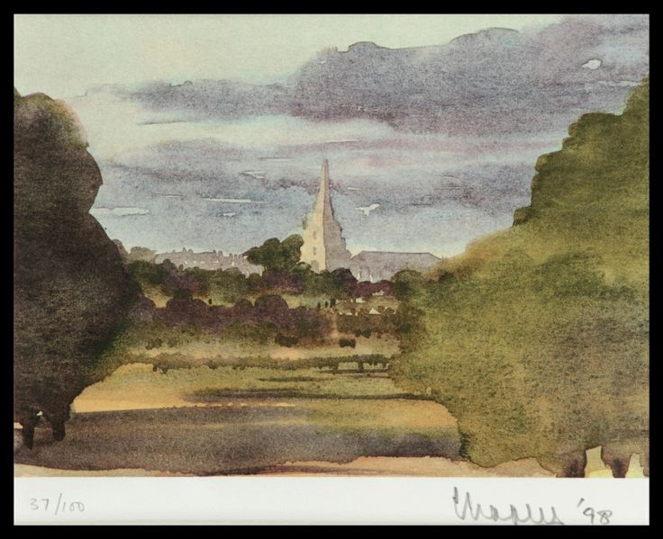 HRH The Prince of Wales | Tetbury Church | Limited Edition Signed Lithograph | 41 x 37 cm | £9,500 | This view of Tetbury Church is that seen from the front of Highgrove House, the country house of His Royal Highness The Prince of Wales, towards the old Gloucestershire market town of Tetbury. The church spire of St Mary's dominates the skyline and is visible from all directions around the town.