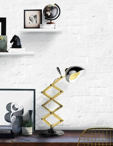 Delightfull's Billy desk lamp has a luxurious retro feel, thanks to an industrial brass body and shapely aluminum lamp shade.
