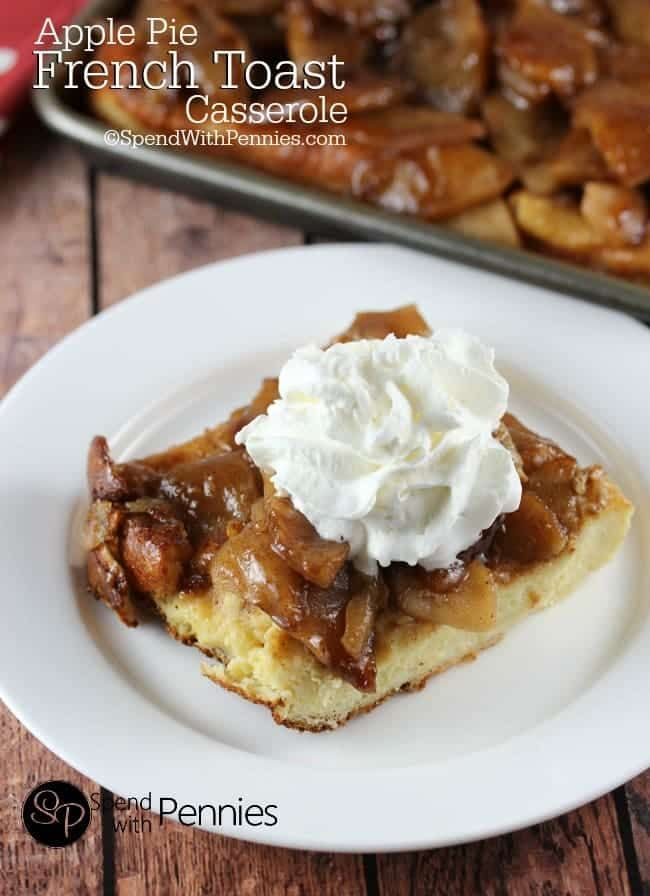 Apple Pie French Toast Casserole is a delicious overnight breakfast recipe. If you're looking for a make ahead breakfast for guests or holidays, this is it!