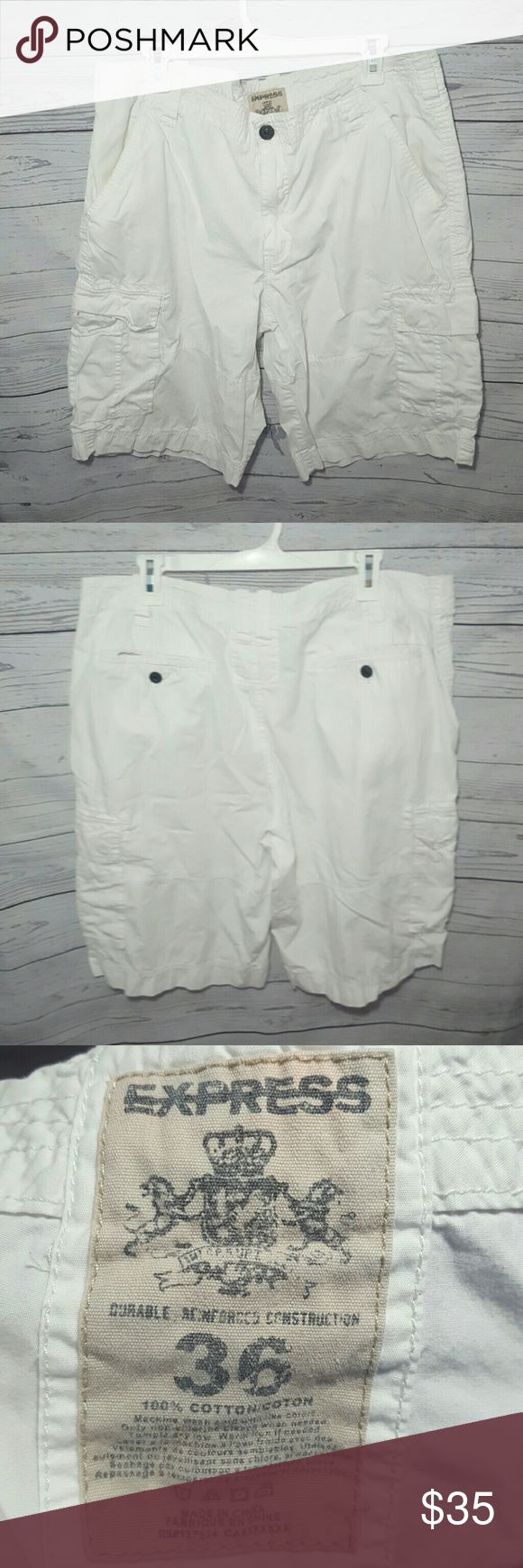 Express White Cargo Style Mens Shorts Good condition. No major defects. Bright white color. Express Shorts Cargo