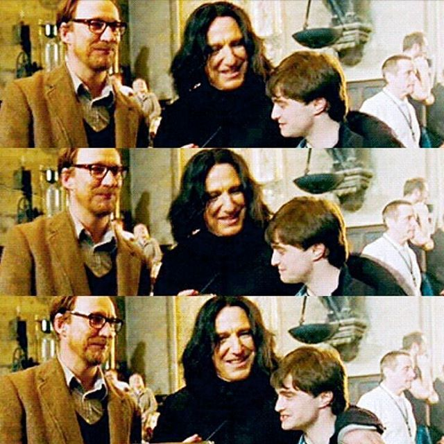 David Thewlis, Alan Rickman and Daniel Radcliffe on the set of HP And The Deathly Hallows part 2