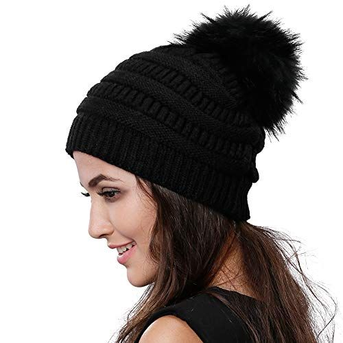 342a7399abf Chic Womens Winter Knit Beanie Hat Slouchy Skull Cap Real Fur Pom Pom Hats  Cap For Girls Double Layer Warm FURTALK Original.