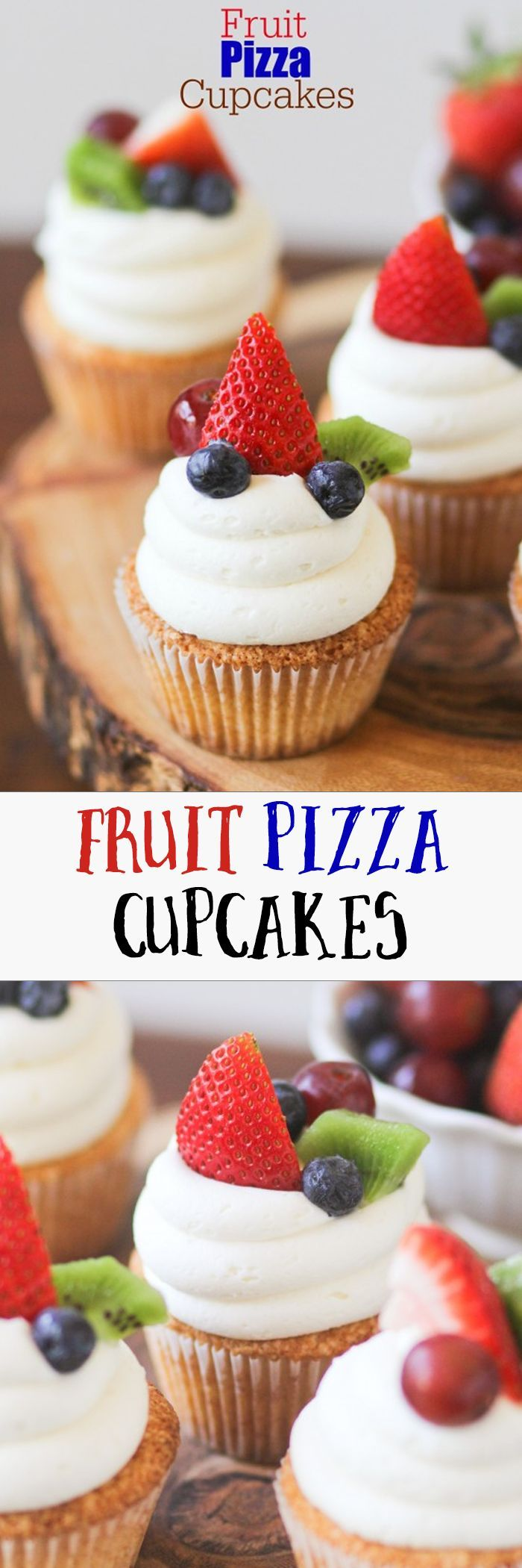 These Fruit Pizza Cupcakes are gorgeous! The cake is light and tastes like a sugar cookie.