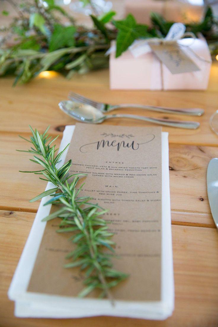 Table settings and wedding menu