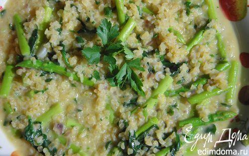Булгур со шпинатом и спаржей  | Кулинарные рецепты от «Едим дома!»