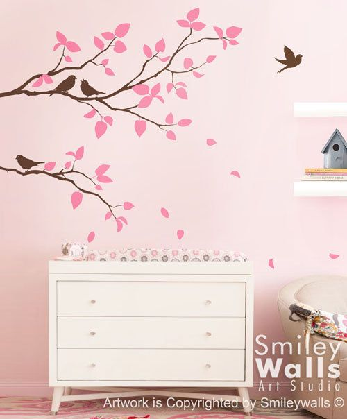 Branches Wall Decal Two Spring Branches And Birds Kids Nursery