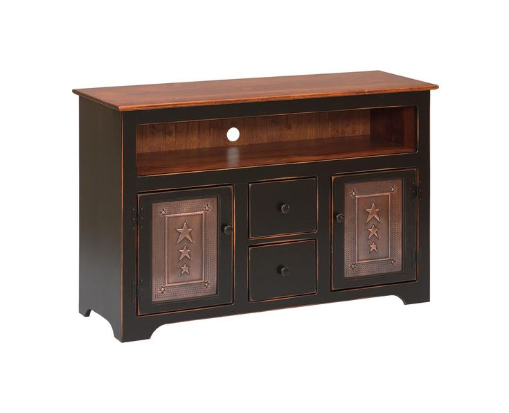 Amish Pine TV Console with Drawers Pretty as a picture and right at home in the living room, family room or bedroom, the Amish Pine TV Console with Drawers is a lovely organizer for favorite movies and games. Made of solid pine wood that looks great and costs less than other solid hardwoods. Choose from four different tin panel options. #Amishfurniture