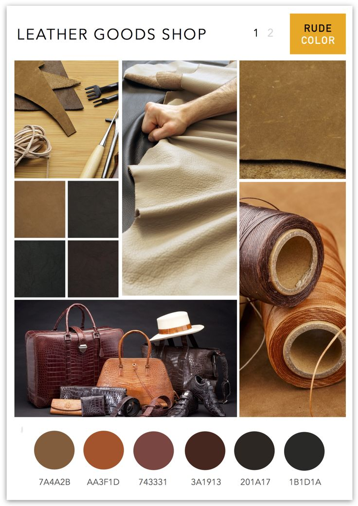 Mood board for a leather goods shop along with color