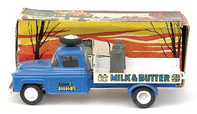 "Vilmer No.467 Dairy Cart - blue cab and chassis, white back, ""Milk and Butter"","