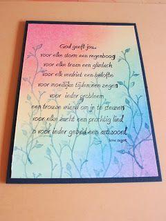 Kaart gemaakt met stempel van Inkerbell en een achtergrond met Te Gekke Krijtjes
