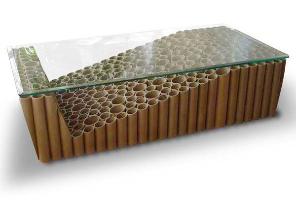 Cardboard 307 Tube Coffee Table. Paint or paper tubes and put plexiglass or a fake mirror as the top