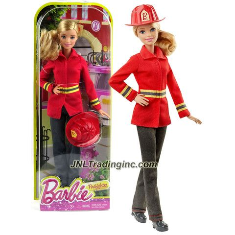 Mattel Year 2015 Barbie Career Series 12 Inch Doll - Barbie as FIREFIGHTER (DHB23) with Fire Helmet