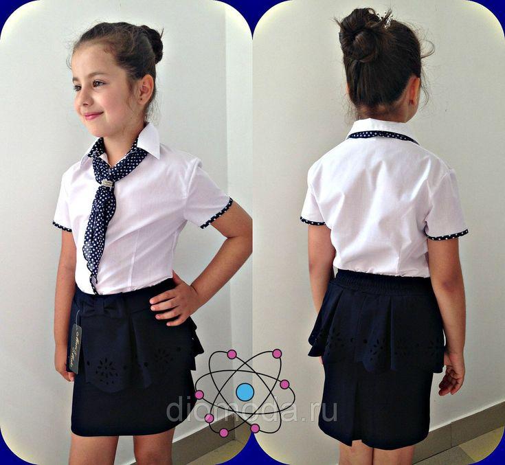 """Купить Детская школьная блуза для девочки """"Стюардесса"""" с галстуком и коротким рукавом (2 цвета) оптом в Интернет-магазине «DioModa» - 222133044"""