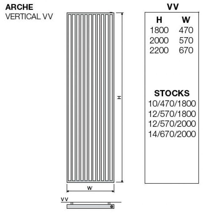 Grzejnik dekoracyjny z poręczą po prawej stronie VVR -  1800x670 mm - G