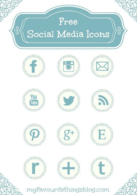 12 Free Blue Floral Social Media Icons via Hopeful Honey