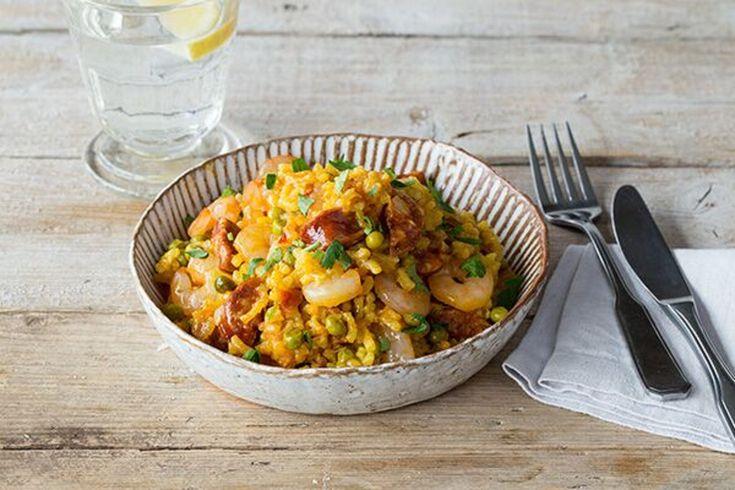 Shrimp and Chorizo Paella with Smoked Paprika, Tomato, and Peas | HelloFresh Recipe - Delightful !!! made 4/19/2016
