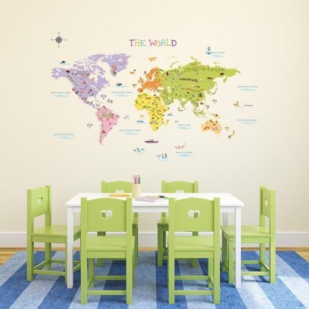 Väggdekor - Stor världskarta för barn