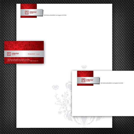 A Floral Red and Chrome Stationery Set Design. #stationery #design  $29.00