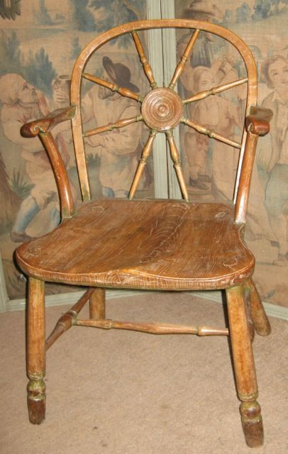 Wheel-back, Windsor-type chair, English c1780, from Tim Wharton, @decorativefair