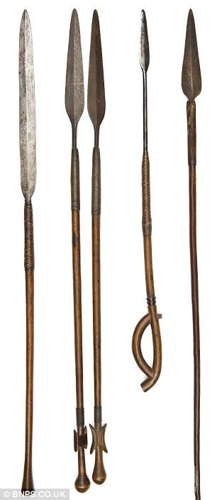 A collection of Zulu stabbing spears, one of which is (Right) is expected to sell for £900