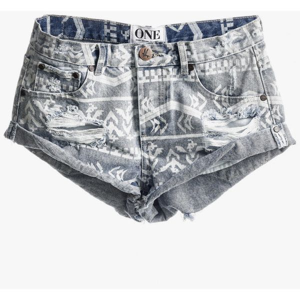 One Teaspoon Aztec Bandits (26.200 HUF) ❤ liked on Polyvore featuring shorts, bottoms, pants, aztec shorts, oversized shorts, mid rise shorts, one teaspoon and frayed shorts