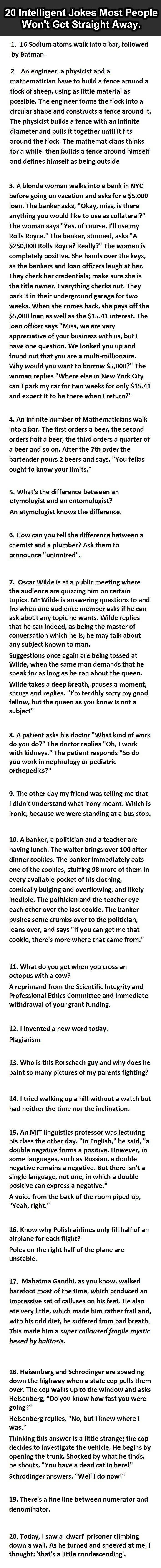 20 Intelligent Jokes Most People Won't Get Straight Away. #16 Is Gold.