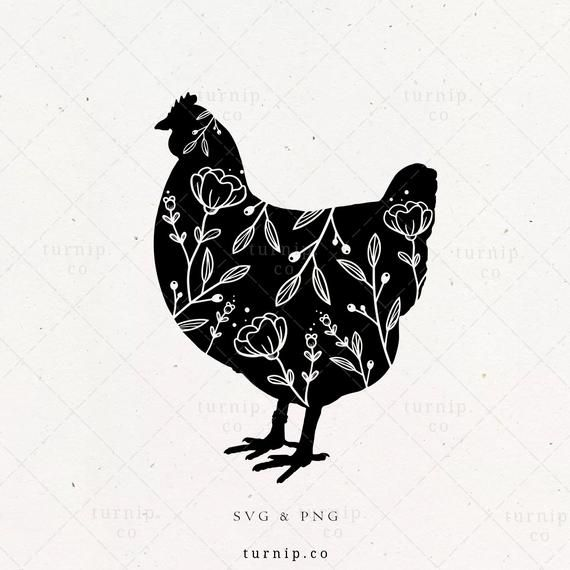 Floral Chicken Svg Clipart Flower Sublimation Design Rooster Etsy In 2021 Rooster Silhouette Silhouette Art Clip Art