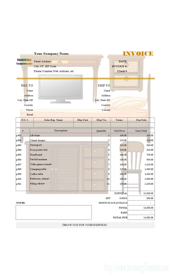 Editable Bill Sample for Furniture and Appliances