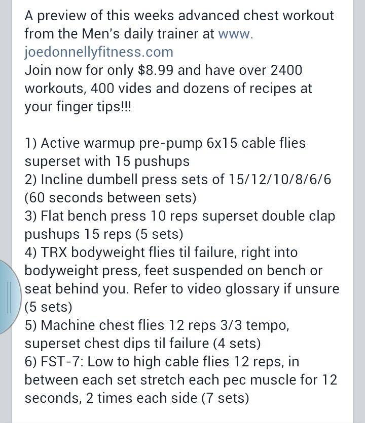Joe donnelly advanced chest workout fitness pinterest