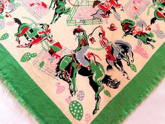 vintage Western scarf bandana cowboy scarf Bronco horse