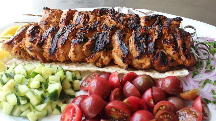 Turkish Chicken Kebabs - Easy Grilled Chicken Kebab Recipe.  Add Lavash, Cucumber & Red Onion.