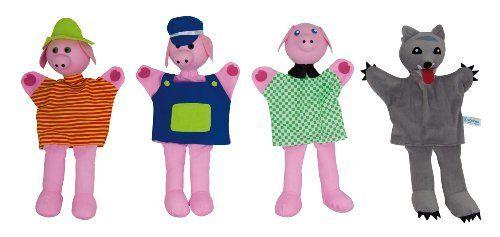 Pack de marionetas del cuento de Los tres cerditos de Andreu Toys.  Estas marionetas estimulan la imaginación y la socialización. ¡Ideales para jugar en familia!