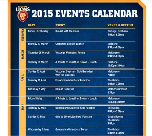 A look at the Brisbane Lions AFL fan events calendar for 2015.