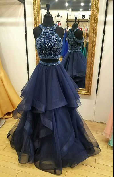 Charming Navy Blue Prom Dress, zweiteilige Ballkleider, Ballkleid Ballkleid, lange Partykleider, 2 Stück Ballkleid, Perlen Abendkleid 2018